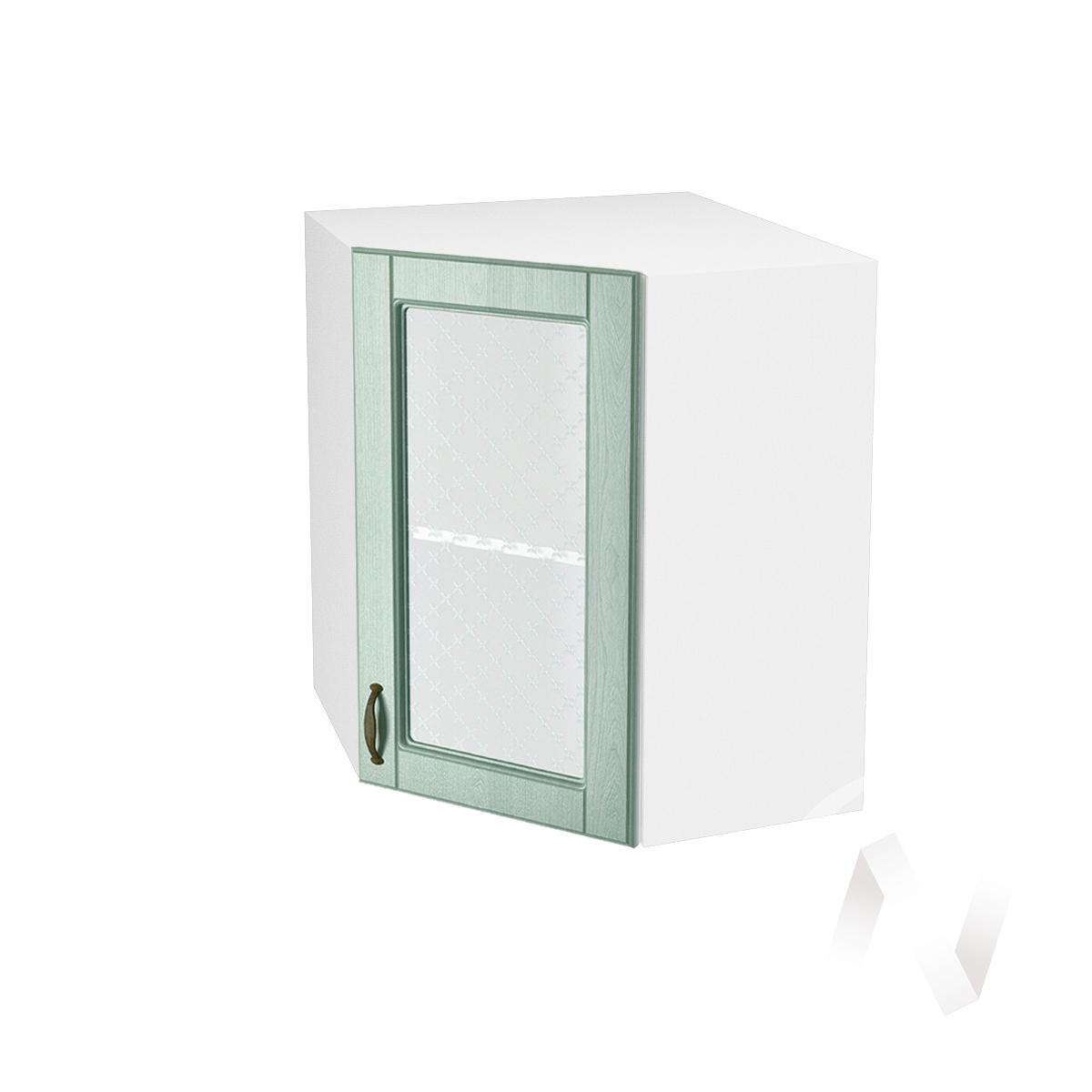 """Кухня """"Прованс"""": Шкаф верхний угловой со стеклом 590, ШВУС 590 (корпус белый)"""