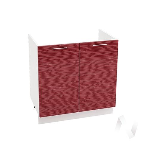 "Кухня ""Валерия-М"": Шкаф нижний под мойку 800, ШНМ 800 (Страйп красный/корпус белый)"