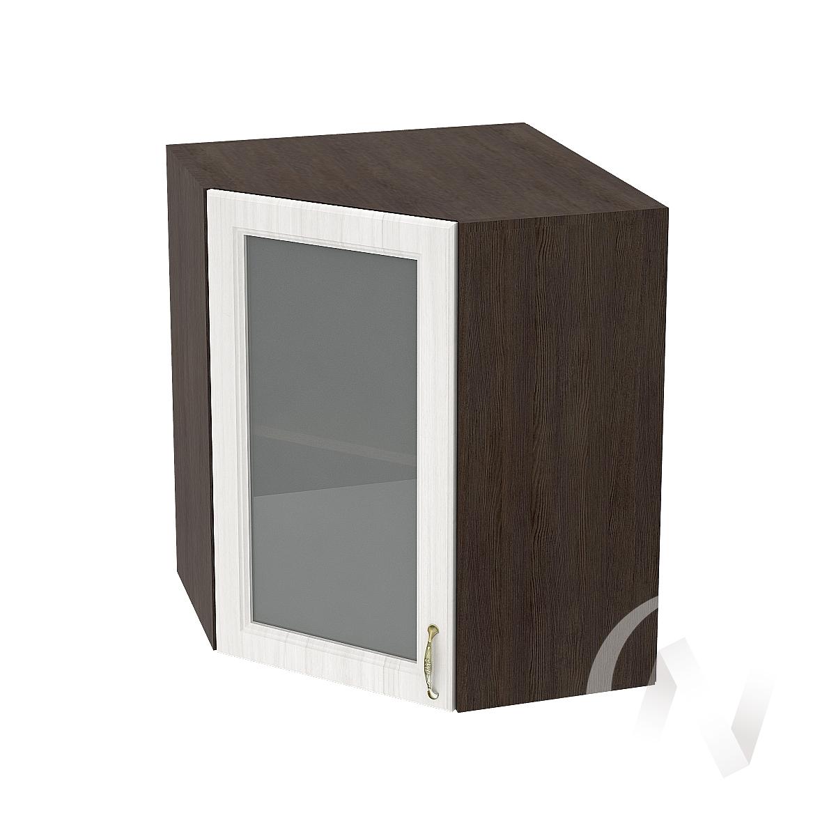 """Кухня """"Виктория"""": Шкаф верхний угловой со стеклом 590, ШВУС 590 (корпус венге)"""