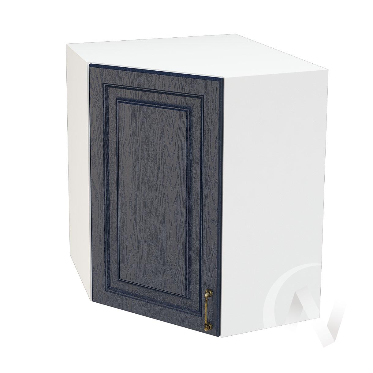 """Кухня """"Ницца"""": Шкаф верхний угловой 590, ШВУ 590 (Дуб чернильный/корпус белый)"""