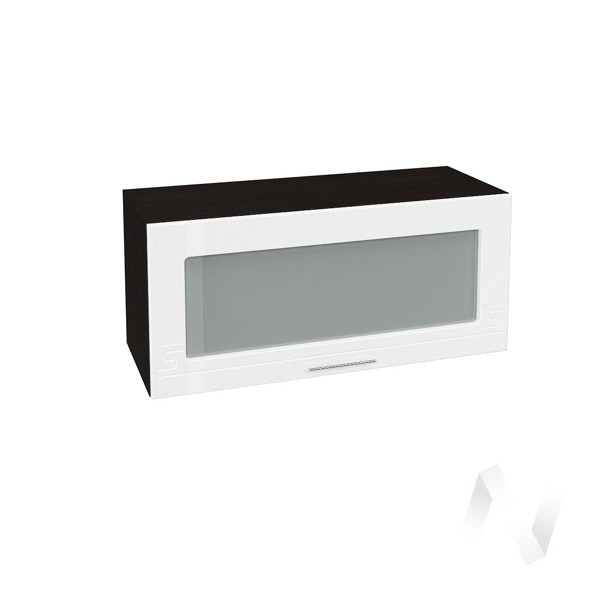 """Кухня """"Греция"""": Шкаф верхний горизонтальный со стеклом 800, ШВГС 800 (белый металлик/корпус венге)  в Новосибирске - интернет магазин Мебельный Проспект"""