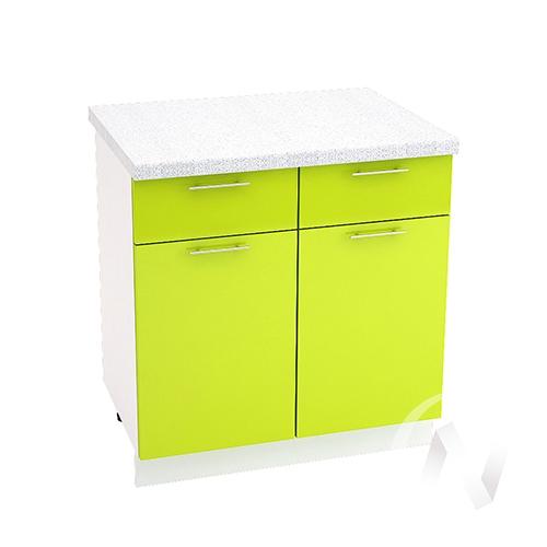 "Кухня ""Валерия-М"": Шкаф нижний с ящиками 800, ШН1Я 800 (лайм глянец/корпус белый)"