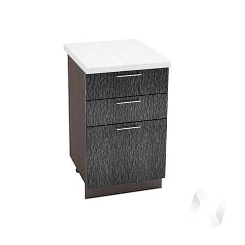 """Кухня """"Валерия-М"""": Шкаф нижний с 3-мя ящиками 500, ШН3Я 500 (дождь черный/корпус венге)"""