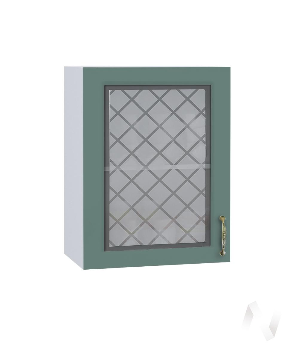 """Кухня """"Селена"""": Шкаф верхний со стеклом 500, ШВС 500 (Дуб бирюзовый/корпус белый)"""