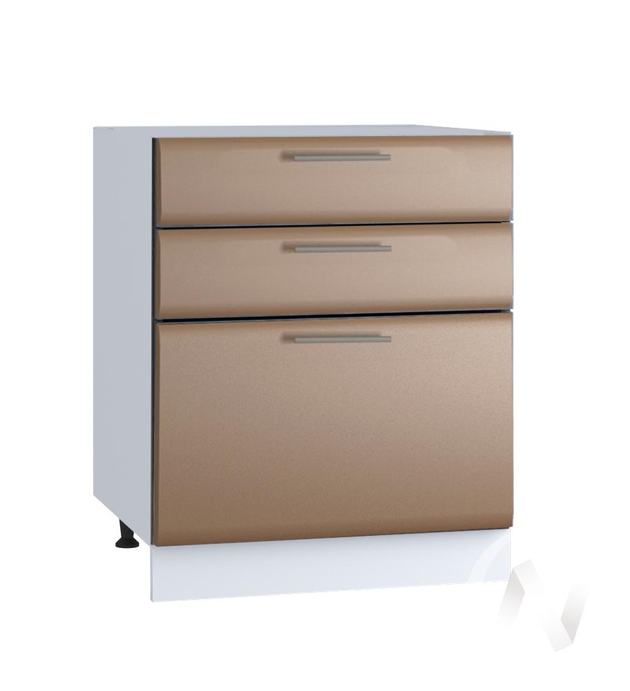 """Кухня """"Люкс"""": Шкаф нижний с 3-мя ящиками 600, ШН3Я 600 (Шоколад матовый/корпус белый)"""