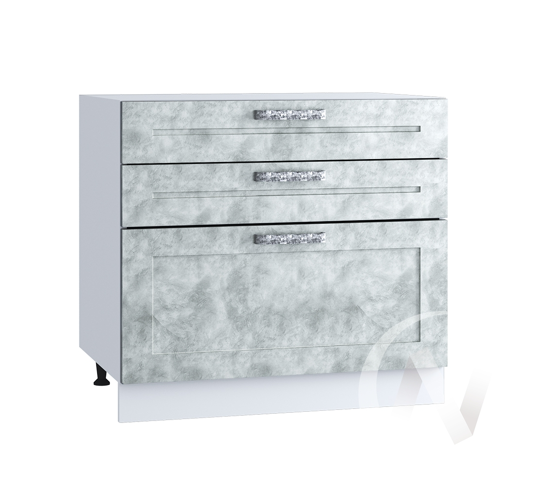 "Кухня ""Лофт"": Шкаф нижний с 3-мя ящиками 800, ШН3Я 800 (Бетон серый/корпус белый)"