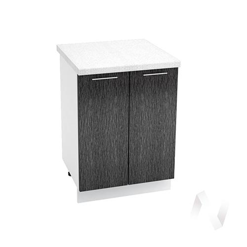 "Кухня ""Валерия-М"": Шкаф нижний 600, ШН 600 (дождь черный/корпус белый)"