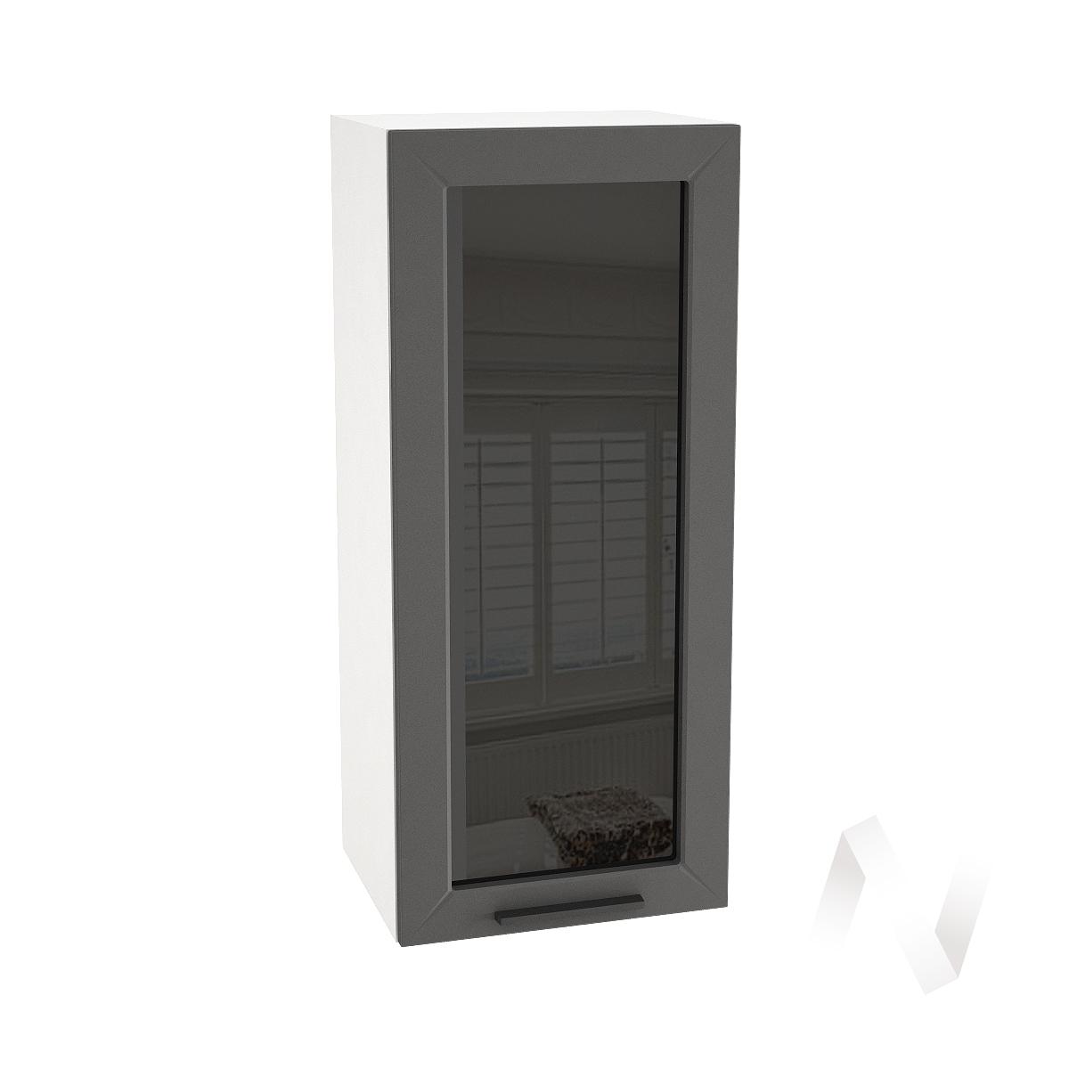 "Кухня ""Глетчер"": Шкаф верхний со стеклом 409, ШВС 409 (Маренго силк/корпус белый)"