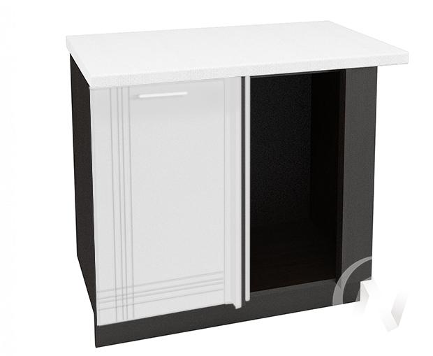 """Кухня """"Струна"""": Шкаф нижний левый угловой 990М, ШНУ 990М (белый металлик/корпус венге)"""