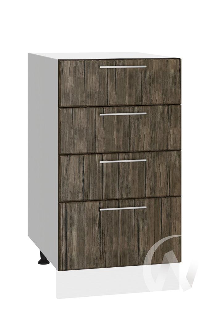 """Кухня """"Норден"""": Шкаф нижний с 4-мя ящиками 400, ШН4Я 400 (старое дерево/корпус белый)"""