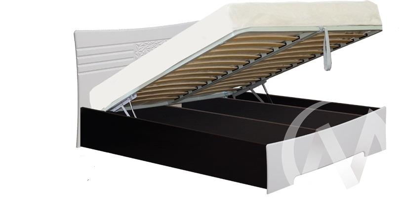Атлантида Кровать 1,6 с подъемным механизмом (венге-белый глянец)