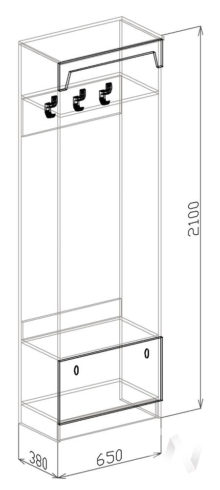 Вешалка Прихожая София (венге-белый дым) в Томске — авторская мебель Экостиль