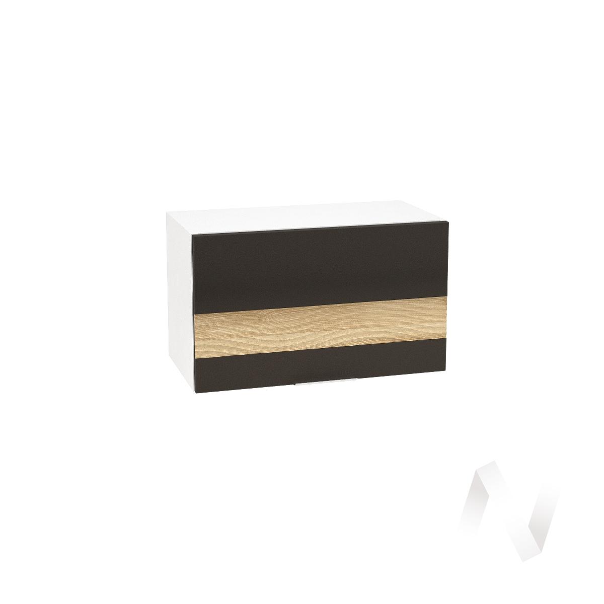 """Кухня """"Терра"""": Шкаф верхний горизонтальный 600, ШВГ 600 (смоки софт/ель карпатская/корпус белый)"""