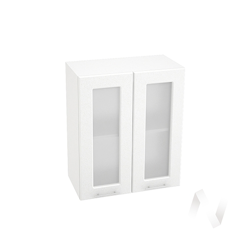 "Кухня ""Вега"": Шкаф верхний со стеклом 600, ШВС 600 (белый металлик/корпус белый)"