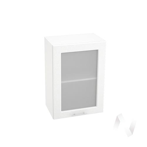 "Кухня ""Вега"": Шкаф верхний со стеклом 500, ШВС 500 (белый металлик/корпус белый)"