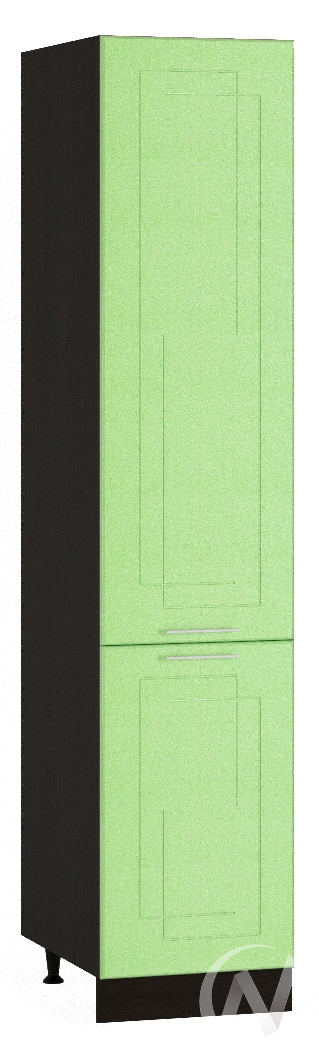 "Кухня ""Вега"": Шкаф пенал 400, ШП 400 (салатовый металлик/корпус венге)"