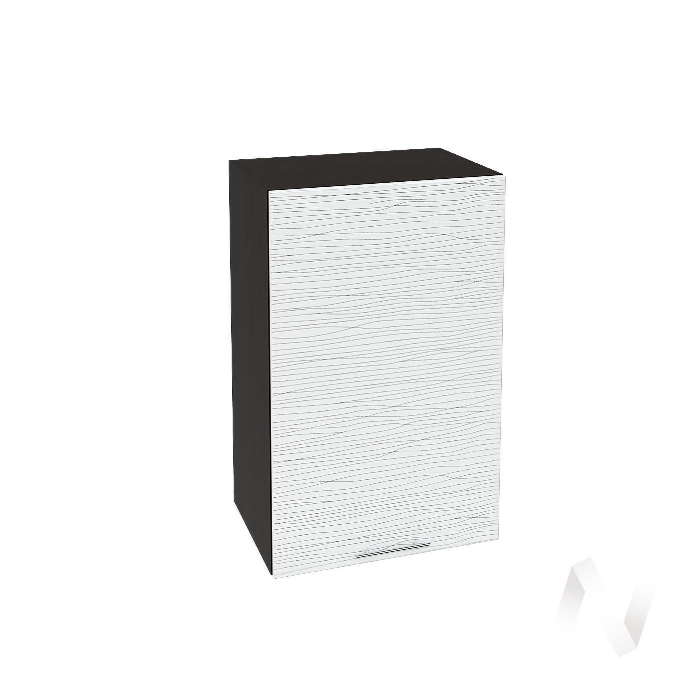 """Кухня """"Валерия-М"""": Шкаф верхний 450, ШВ 450 (Страйп белый/корпус венге)"""