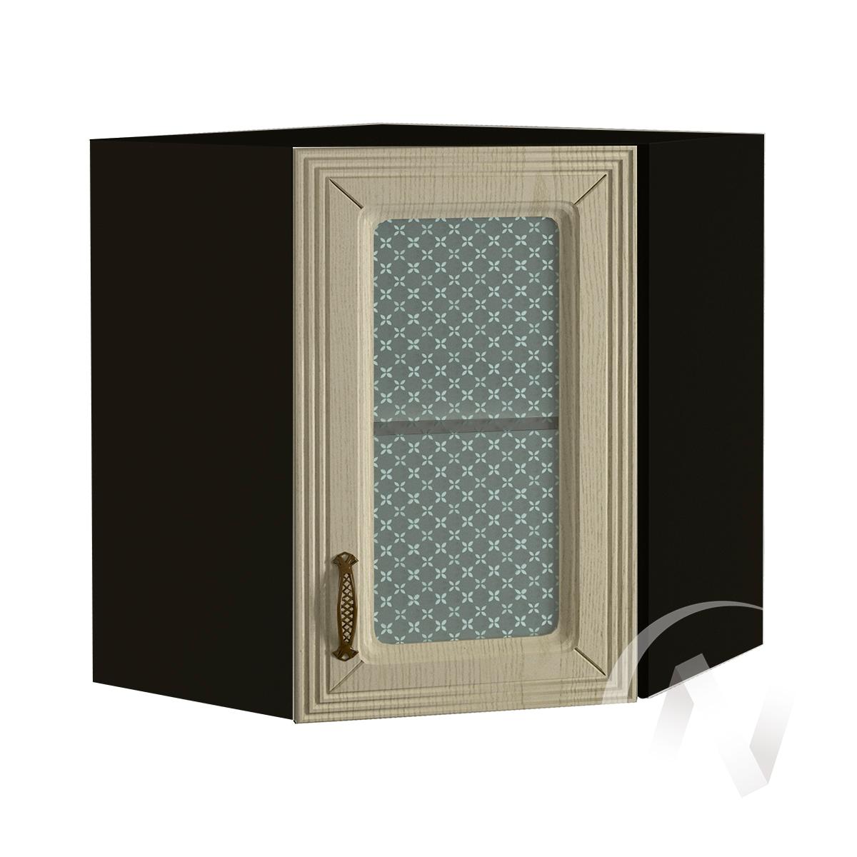 """Кухня """"Изабель"""": Шкаф верхний угловой со стеклом 590, ШВУС 590 (корпус венге)"""
