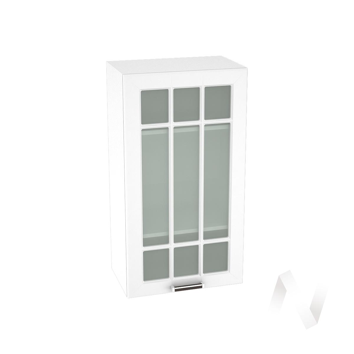 """Кухня """"Прага"""": Шкаф верхний со стеклом 509, ШВС 509 (белое дерево/корпус белый)"""