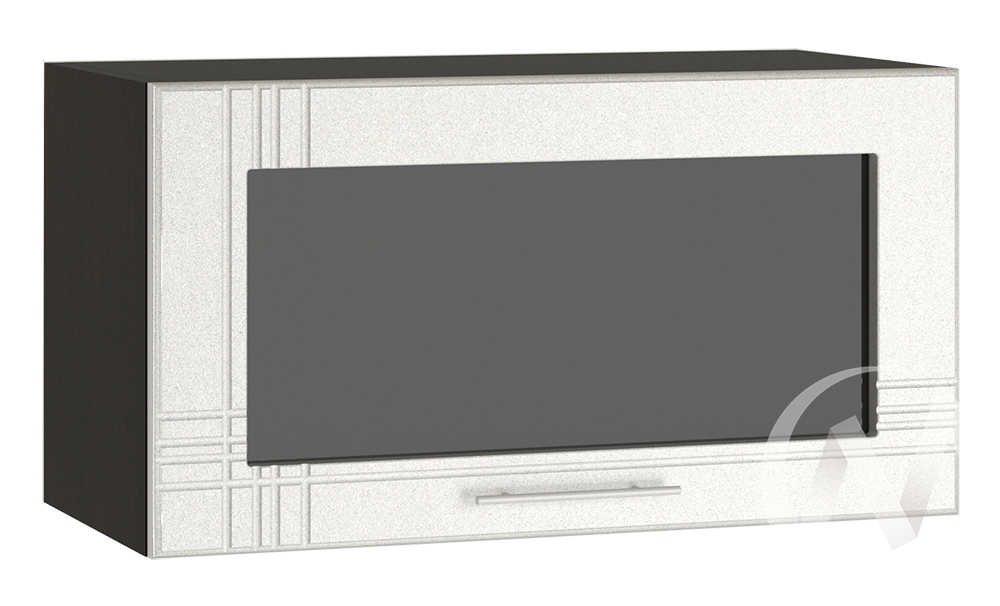 """Кухня """"Струна"""": Шкаф верхний горизонтальный со стеклом 600, ШВГС 600 (белый металлик/корпус венге)"""
