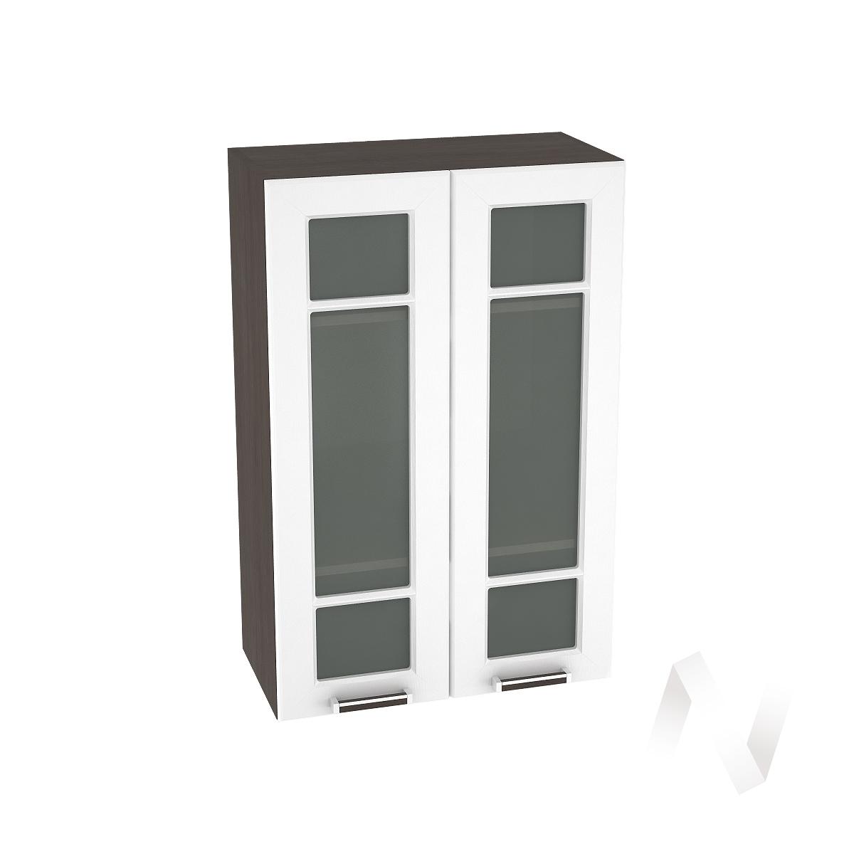 """Кухня """"Прага"""": Шкаф верхний со стеклом 609, ШВС 609 (белое дерево/корпус венге)"""