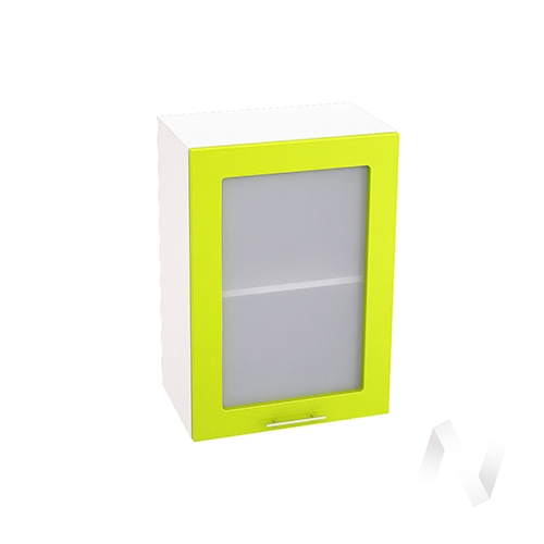 """Кухня """"Валерия-М"""": Шкаф верхний со стеклом 500, ШВС 500 (лайм глянец/корпус белый)"""
