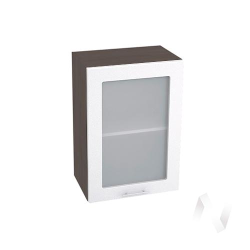 """Кухня """"Валерия-М"""": Шкаф верхний со стеклом 500, ШВС 500 (белый металлик/корпус венге)"""
