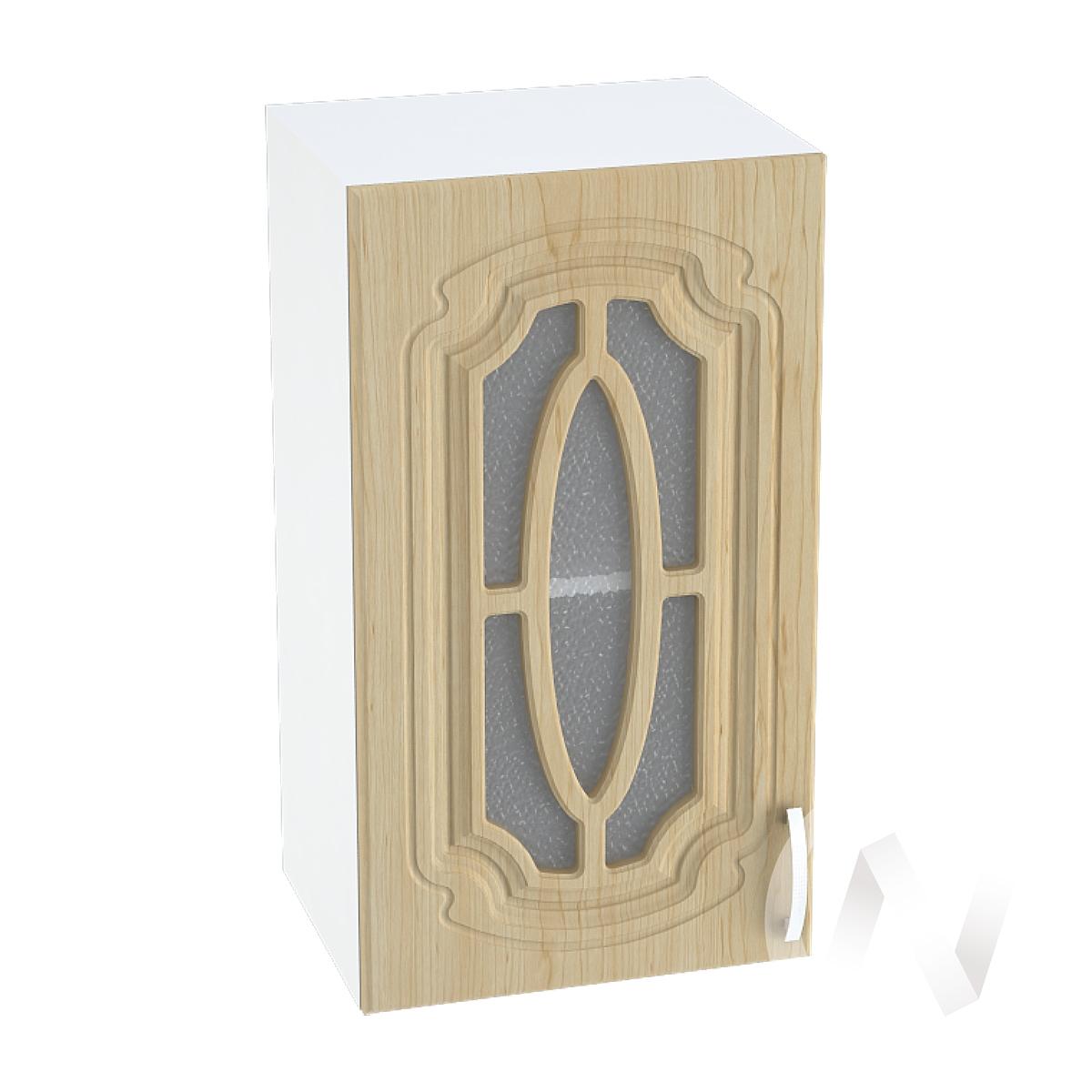 """Кухня """"Настя"""": Шкаф верхний со стеклом 400, ШВС 400 (Береза/корпус белый)"""