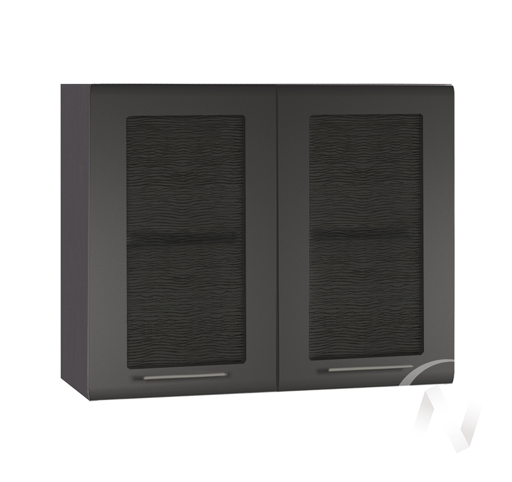"""Кухня """"Люкс"""": Шкаф верхний со стеклом 800, ШВС 800 (Шелк венге/корпус венге)"""
