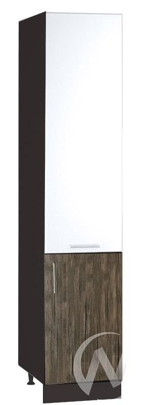 "Кухня ""Норден"": Шкаф пенал 400, ШП 400 (белый глянец/старое дерево/корпус венге)"