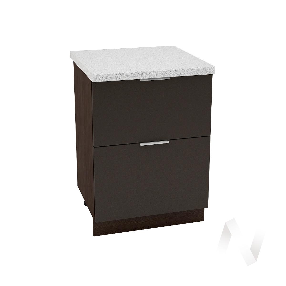 "Кухня ""Терра"": Шкаф нижний с 2-мя ящиками 600, ШН2Я 600 (смоки софт/корпус венге)"
