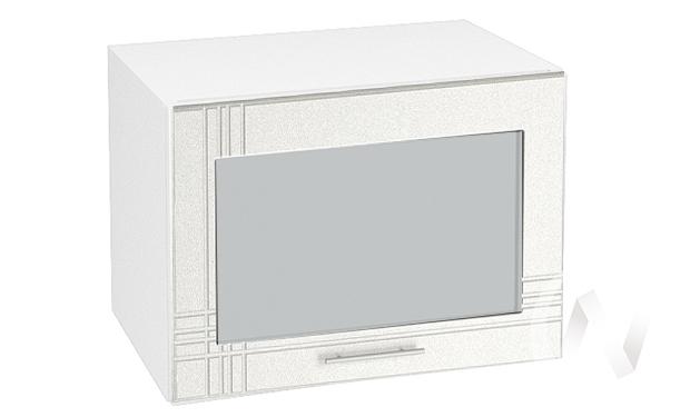 "Кухня ""Струна"": Шкаф верхний горизонтальный со стеклом 500, ШВГС 500 (белый металлик/корпус белый)"