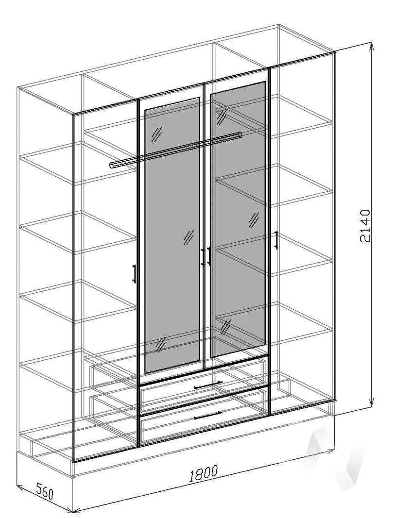 Токио Шкаф 4х створчатый (венге-слива валлис) в Томске — авторская мебель Экостиль