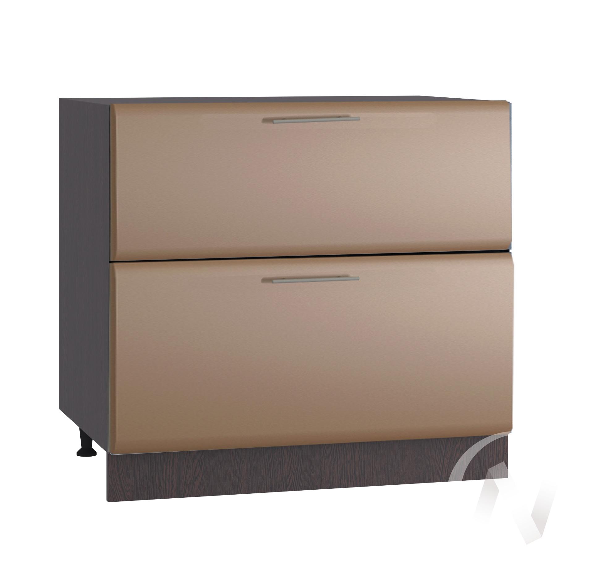 """Кухня """"Люкс"""": Шкаф нижний с 2-мя ящиками 800, ШН2Я 800 (Шоколад матовый/корпус венге)"""
