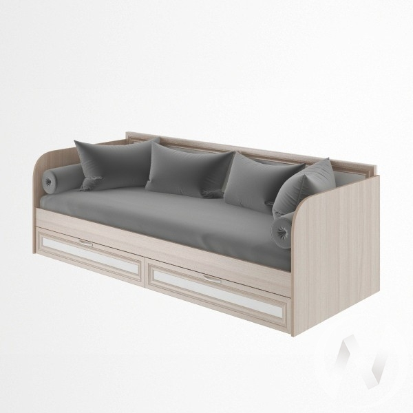 Кровать с ящиками 800*2000 М23 Остин (ясень шимо светлый/белый)