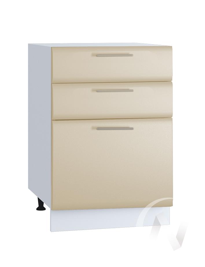 "Кухня ""Люкс"": Шкаф нижний с 3-мя ящиками 500, ШН3Я 500 (Шелк жемчуг/корпус белый)"