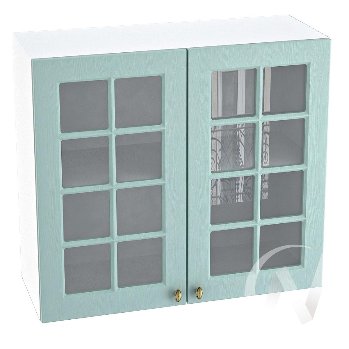 "Кухня ""Прованс"": Шкаф верхний со стеклом 800, ШВС 800 (голубой/корпус белый)"