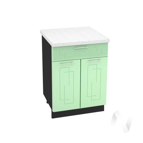 """Кухня """"Вега"""": Шкаф нижний с ящиком 600, ШН1Я 600 М (салатовый металлик/корпус венге)"""