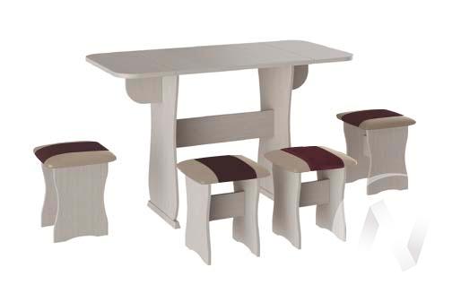 Обеденная группа тип 4 кожзам (дуб молочный/шоколад,бежевый) в Томске — авторская мебель Экостиль