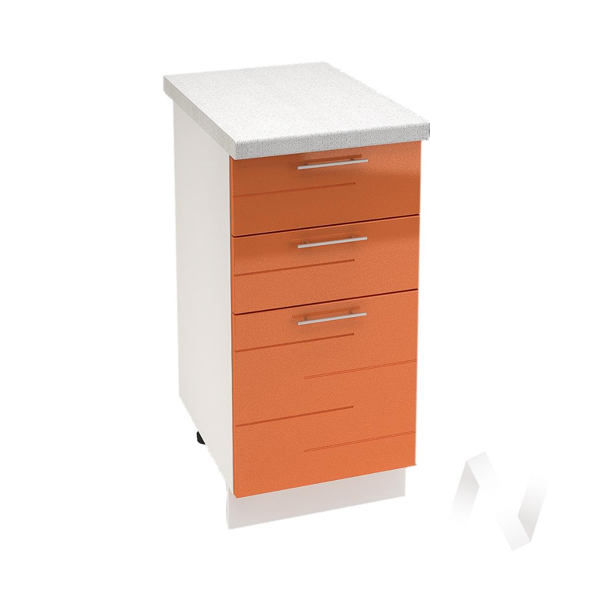 """Кухня """"Техно"""": Шкаф нижний с 3-мя ящиками 400, ШН3Я 400 (корпус белый)"""