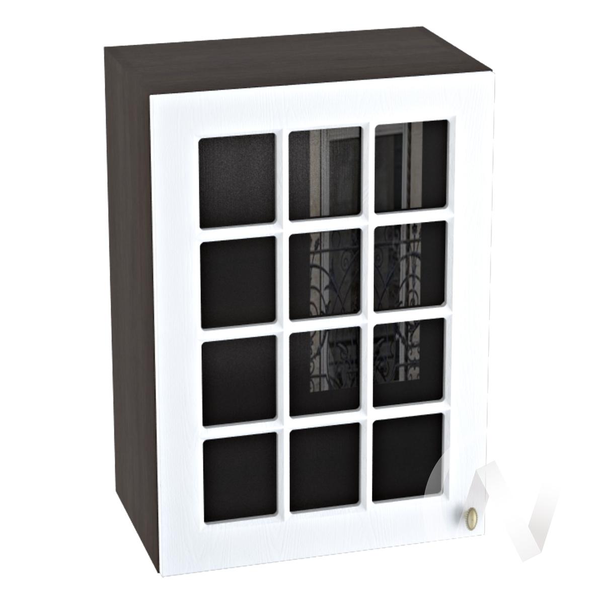 """Кухня """"Прованс"""": Шкаф верхний со стеклом 500, ШВС 500 (белое дерево/корпус венге)"""