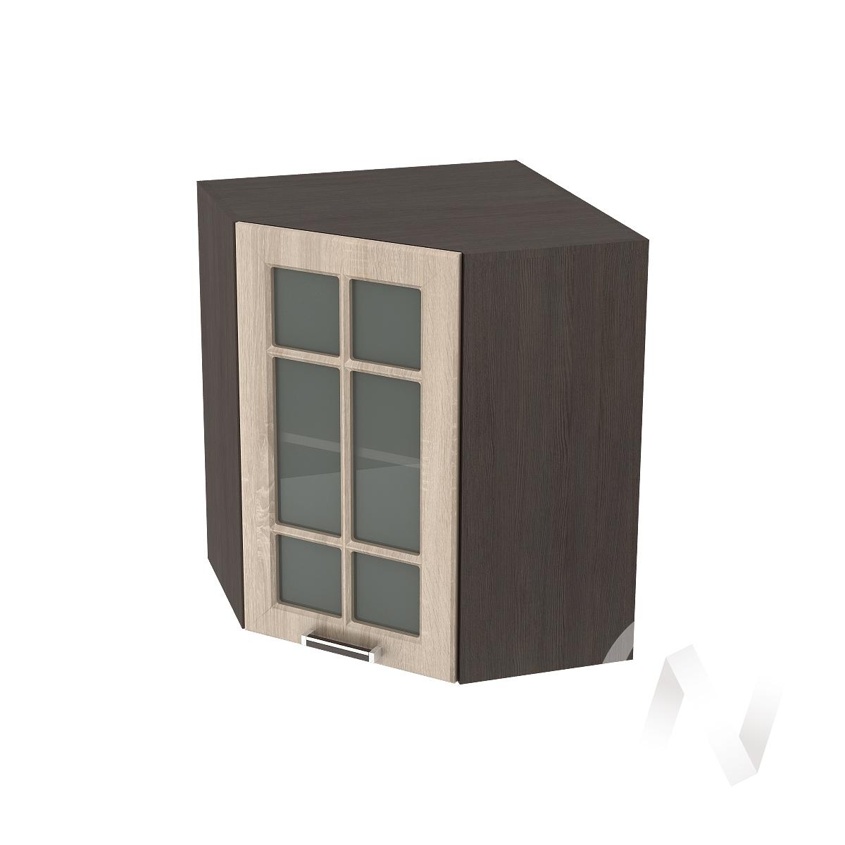 """Кухня """"Прага"""": Шкаф верхний угловой со стеклом 590, ШВУС 590 (дуб сонома/корпус венге)"""