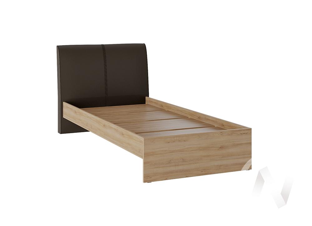 Кровать Доминика 1,2 основание ЛДСП (дуб крафт золотой/кожзам коричневый)  в Томске — интернет магазин МИРА-мебель