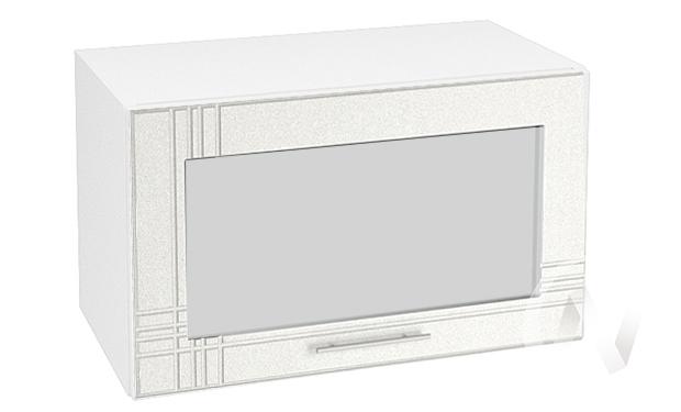 "Кухня ""Струна"": Шкаф верхний горизонтальный со стеклом 600, ШВГС 600 (белый металлик/корпус белый)"