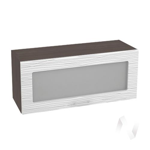 """Кухня """"Валерия-М"""": Шкаф верхний горизонтальный со стеклом 800, ШВГС 800 (Страйп белый/корпус венге)"""