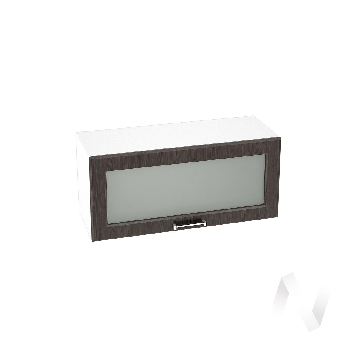 """Кухня """"Прага"""": Шкаф верхний горизонтальный со стеклом 800, ШВГС 800 (венге/корпус белый)"""