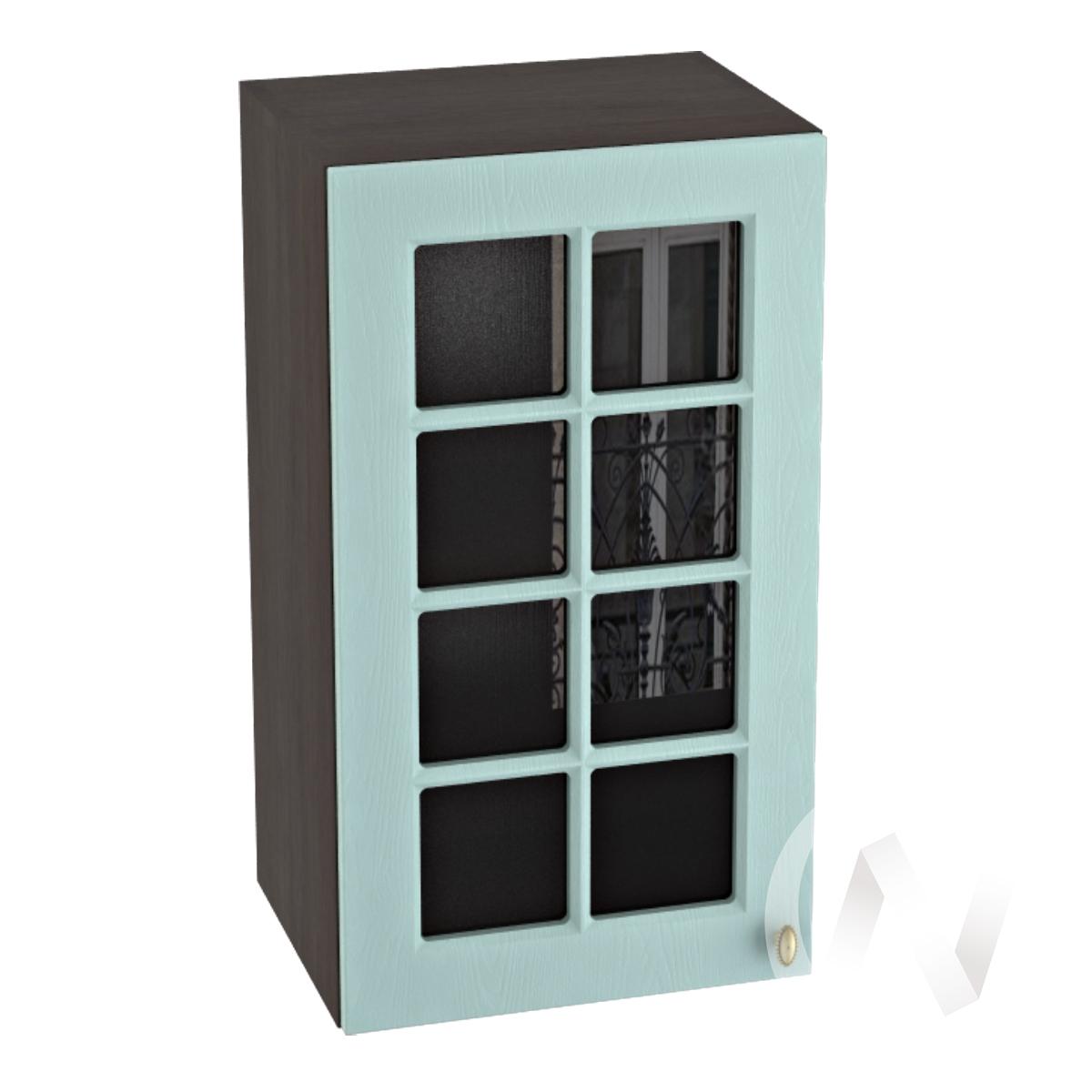 """Кухня """"Прованс"""": Шкаф верхний со стеклом 400, ШВС 400 (голубой/корпус венге)"""