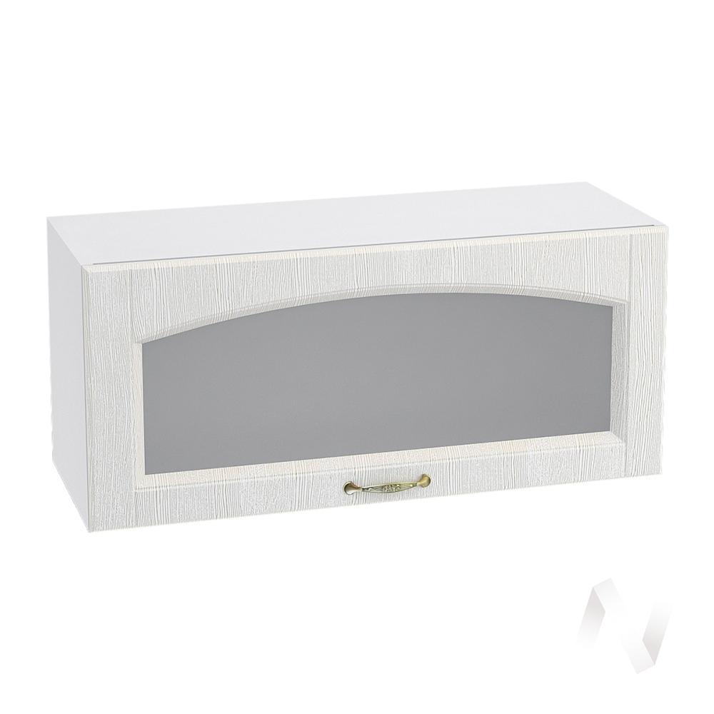 """Кухня """"Верона"""": Шкаф верхний горизонтальный со стеклом 800, ШВГС 800 (ясень золотистый/корпус белый)"""