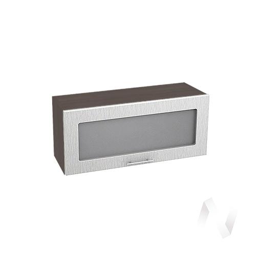 """Кухня """"Валерия-М"""": Шкаф верхний горизонтальный со стеклом 800, ШВГС 800 (дождь серый/корпус венге)"""