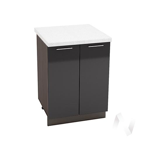 """Кухня """"Валерия-М"""": Шкаф нижний 600, ШН 600 (черный металлик/корпус венге)"""